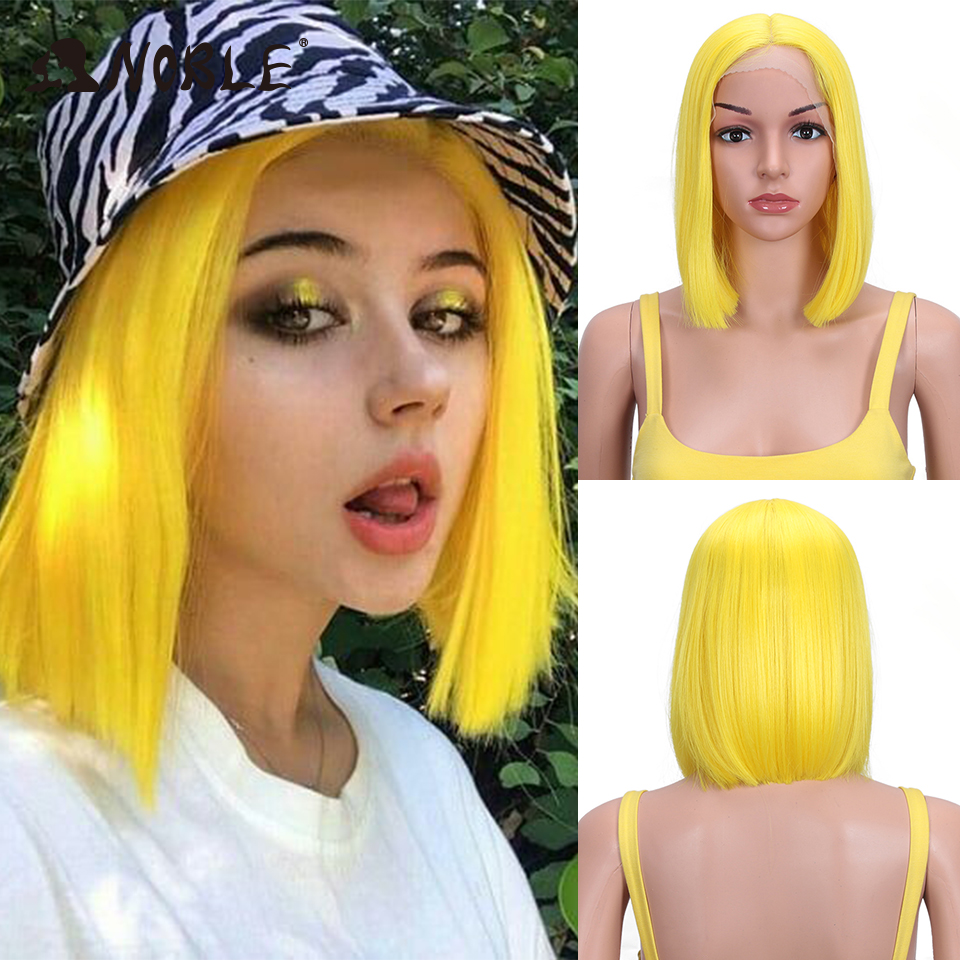 Noble Cosplay Synthetic Lace Front Wig Cosplay Wig Short Bob Straight 12