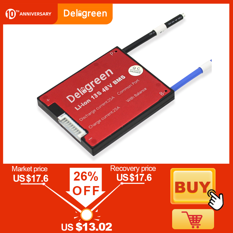 Deligreen 13S Li-ion BMS 15A 20A 30A 40A 50A 60A 48V PCB/BMS For 3.7V Lithium Battery Pack 18650 LiNCM Li-Polymer Scooter