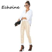 Plus rozmiar S-2XL moda elastyczne PU skórzane cekiny spodnie ołówkowe spodnie spodnie z wysokim stanem dla kobiet czarny biały srebrny