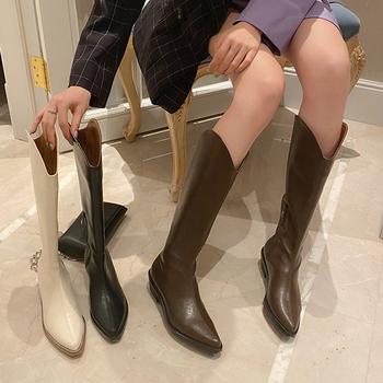 Modne buty damskie zimowe buty damskie kwadratowe obcasy damskie wysokie buty jesienne długie buty buty damskie skórzane szpiczaste buty z palcami tanie i dobre opinie LAKESHI Kwadratowy obcas SZTYBLETY CN (pochodzenie) Na wiosnę jesień Połowy łydki Roman ZSZYWANE Stałe women high boots