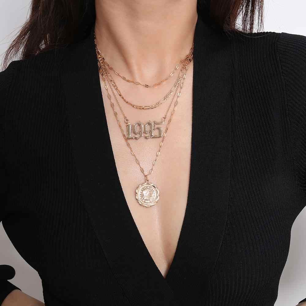 Винтажное многослойное ожерелье в виде змеи Марии, женское колье в богемном стиле с монетами, полумесяцем, Аватар, Шейное колье с подвеской, ожерелье