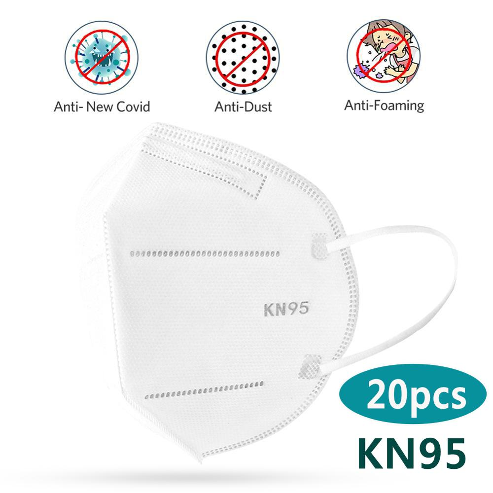 20pcs KN95 Face Masks Antivirus Anti Influenza Masks Non-woven Safety Protective Mouth Cover Breathable Anti-dust Respirator