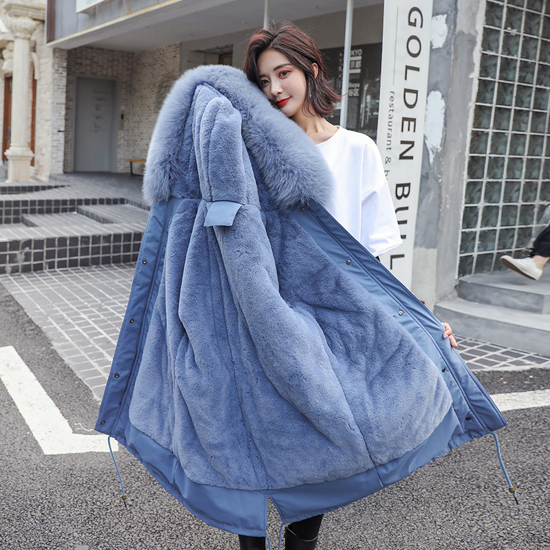 2010 Cotton Liner Warm Coat and Waterproof Jacket Women Plus Size Slim Long Coat Female Winter Big Fur Hooded Parka Mujer Coats