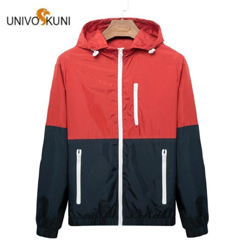 Мужская ветровка с капюшоном, Повседневная легкая куртка с молнией контрастного цвета, верхняя одежда в Корейском стиле, весна осень 2019|Куртки| | АлиЭкспресс