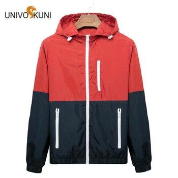 2019 Windbreaker Men Casual Spring Autumn Lightweight Jacket Hooded Contrast Color Zipper Jackets Outwear Korean Clothes Hip Hop