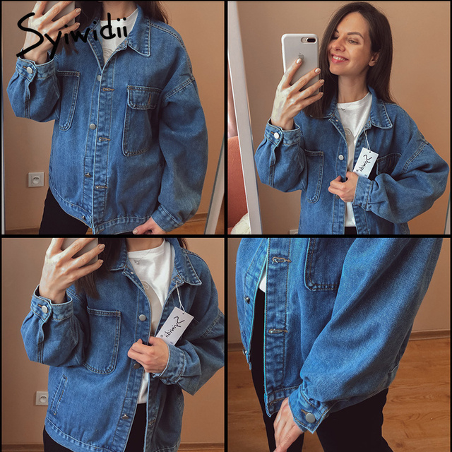 Syiwidii Jean Jacket Women Clothes Oversized Jeans Denim Coat Korean Coats Spring Fall 2021 New Jackets for Women Solid Casual 5