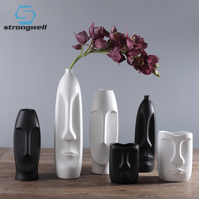 Strongwell Ceramic Person Face Vase Home Decoration Tabletop Flower Vases Decoration Living Room Flower Pot Vase Home Decor in Vases from Home Garden