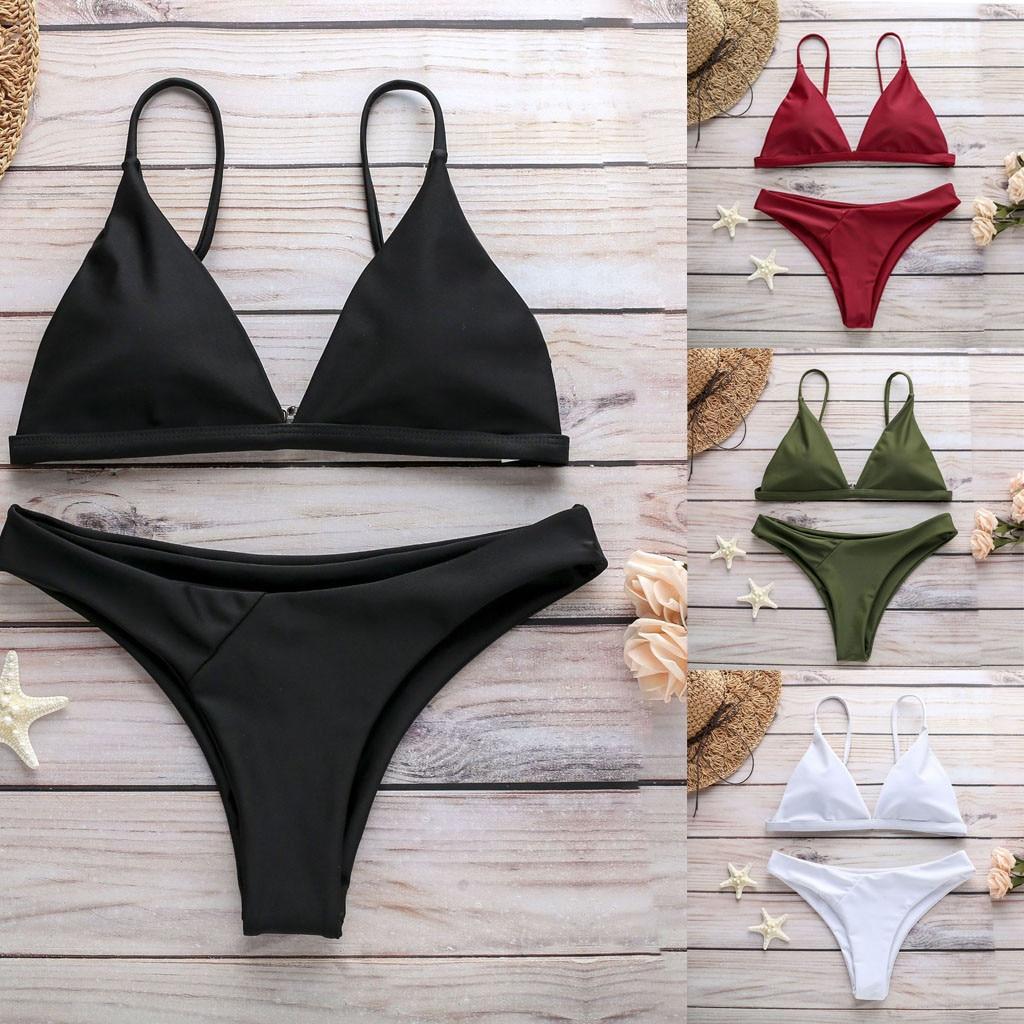 Gran oferta de Bikinis 2020 en blanco y negro, traje de baño para mujer, conjunto de tankini, traje de baño de Color sólido verde rojo