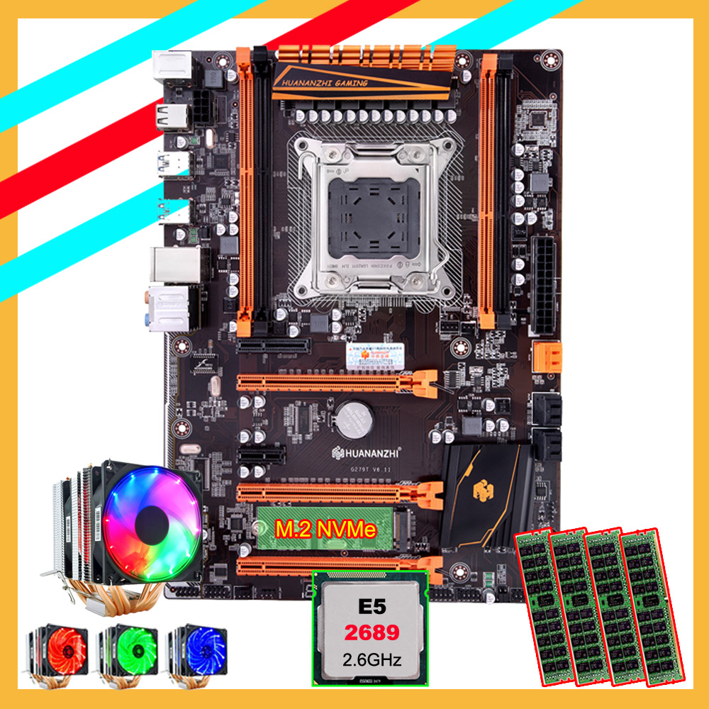 Brand HUANANZHI X79 Deluxe Motherboard With M.2 Slot Discount Motherboard With CPU Intel Xeon E5 2689 With Cooler RAM 64G(4*16G)