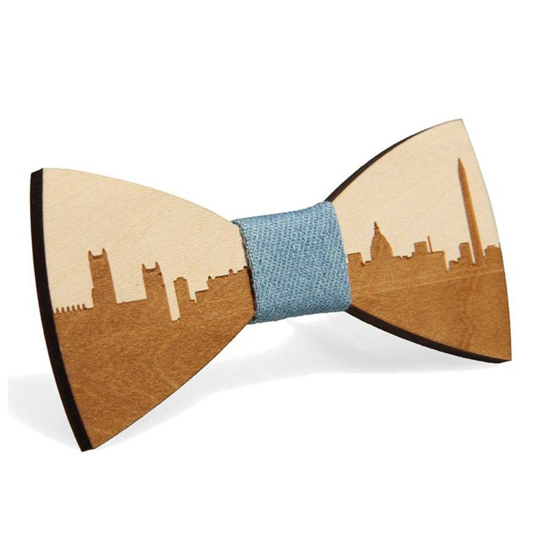 Famous American City Pattern Handmade Bamboo Wooden Bow Ties Adjustable Men Boys Wedding Party Necktie Bowknot Suit Accessory