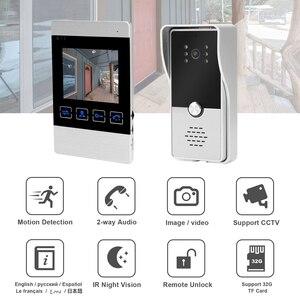 Image 2 - HomeFong Video Door Intercom 4 inch Video Intercom for Home System Kit Indoor Monitor Outdoor Video Doorbell Camera Support CCTV