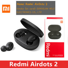 Original xiaomi redmi airdots 2 tws fone de ouvido sem fio bluetooth 5.0 estéreo redução ruído mic controle voz