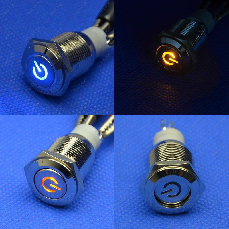 DYKB 19mm DC 12V Push Power Button Angel Eye Led Metal Switch Latching 5A Push ON OR Off FOR Auto CAR Lock