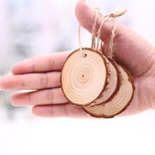 Hot 10Pcs Christmas Tree Ornament DIY Round Wood Disk Write Draw Painting Decoration DIY Kit Round Disks Eco-Friendly simple цена