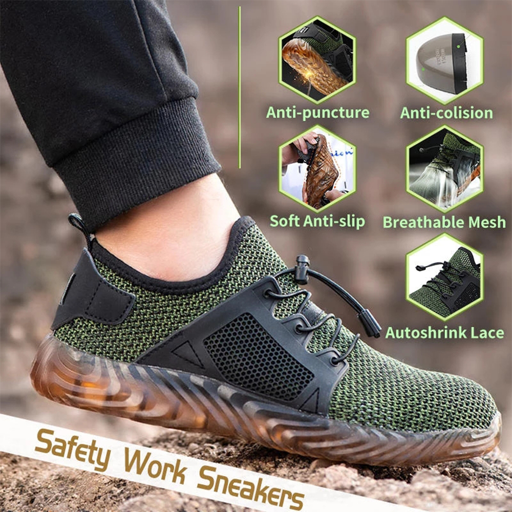 Men\'s Hiking Steel Toe Work Safety Shoes Lightweight Safety Trainers Breathable Anti-piercing Work Shoes Protective Footwear D20