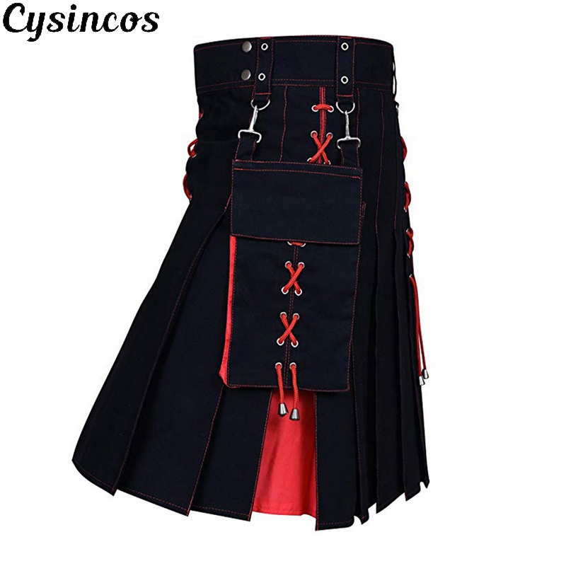 CYSINCOS 2019 New Utility Kilt Hybrid Modern Cotton Jeans Kilt For Men's Scottish Traditional Retro Vintage Pattern Skirt
