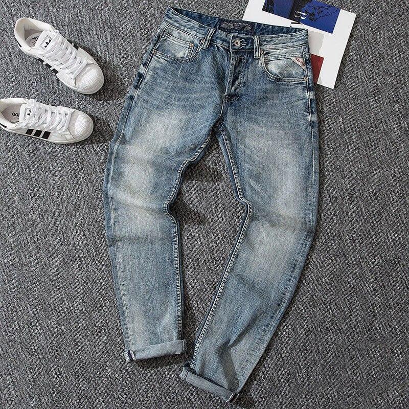 Italian Style Fashion Men Jeans Top Quality Denim Buttons Pants Newly Designer Jeans Men Light Blue Elastic Classical Slim Jeans