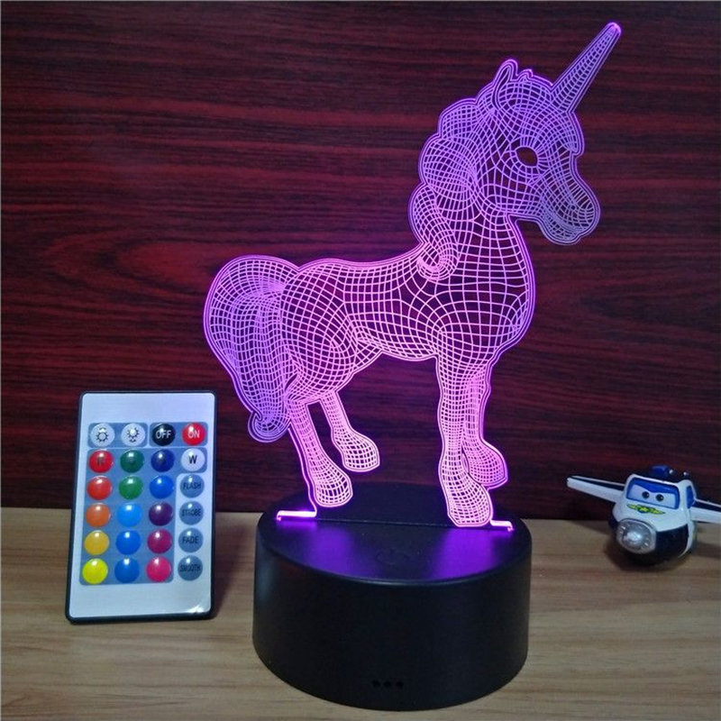 Unicorn 3D visual illusion light transparent acrylic night light LED light 7 color change touch table lamp children lava lamp image