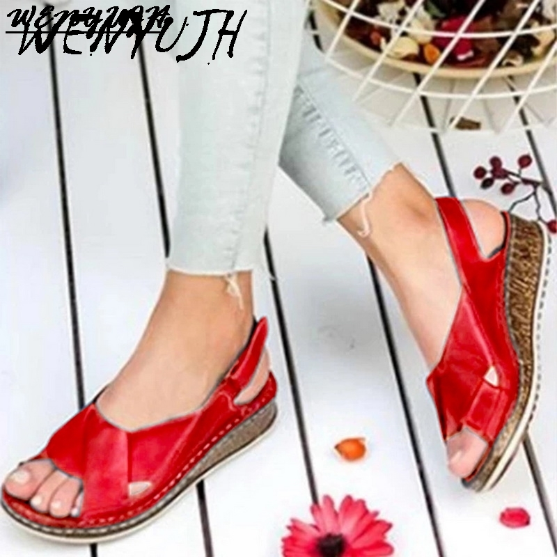 Dropship Women Sandals Summer 2020 Female Shoes Woman Peep-toe Wedge Comfortable Sandals Slip-on Flat Sandals Female Sandalias