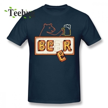 Bear or Beer T Shirt Novelty Cartoon For Male 100% Cotton Homme Tee Drinking T-shirt