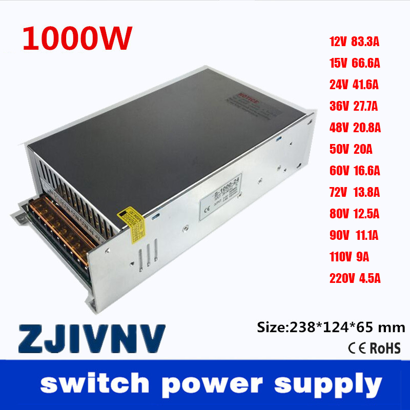 Single Output 1000W Switching Power Supply <font><b>12V</b></font> 15V 24V 36V 48V 50V 60V 72V <font><b>80V</b></font> 90V 110V 220V AC110V or 220V TO DC SMPS image