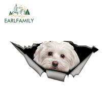 EARLFAMILY 13cm x 6cm simpatico adesivo per auto malta Pet Dog Car Decoration adesivo in metallo strappato adesivo riflettente impermeabile Car Styling