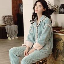 Коралловые бархатные пижамы; Одежда для сна; Осенняя женская