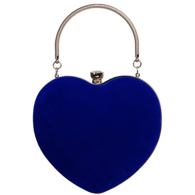 small red shoulder bag Heart Shaped Diamonds Women Evening Bags Chain Shoulder Purse Day Clutches Evening Bags For Party Wedding