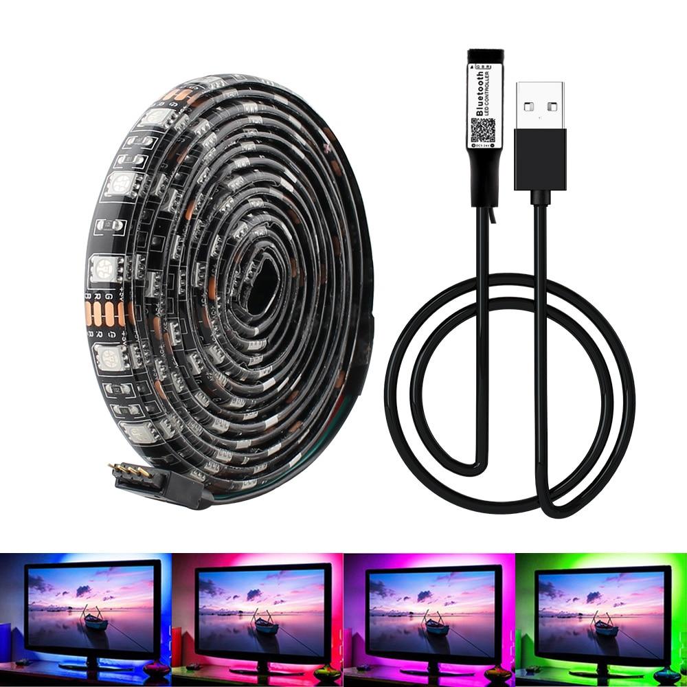 Светодиодный светильник RGB 5 V USB 5050 DC 5 V SMD HD для ТВ, настольного ПК, экран 50 см 1 м, Wi-Fi, Bluetooth контроллер