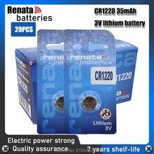20 pçs/lote renata CR1220 BR1220 ECR1220 LM1220 3V 210mAh bateria De Lítio Botão Moeda no pacote de varejo para o relógio, brinquedos