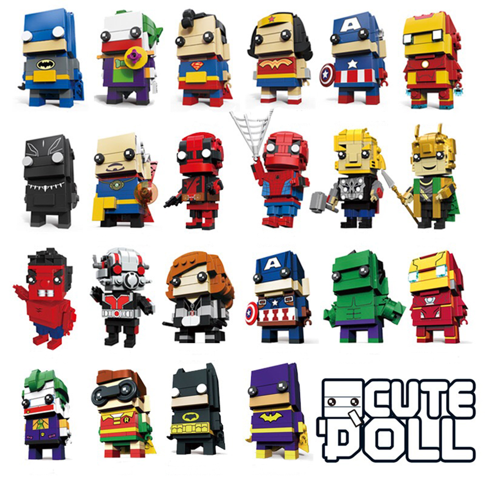 Decool Brickheadz Figures DC Justice Brick Heads Joker Iron Man Spider Man Building Blocks Kids Super Heroes Toys