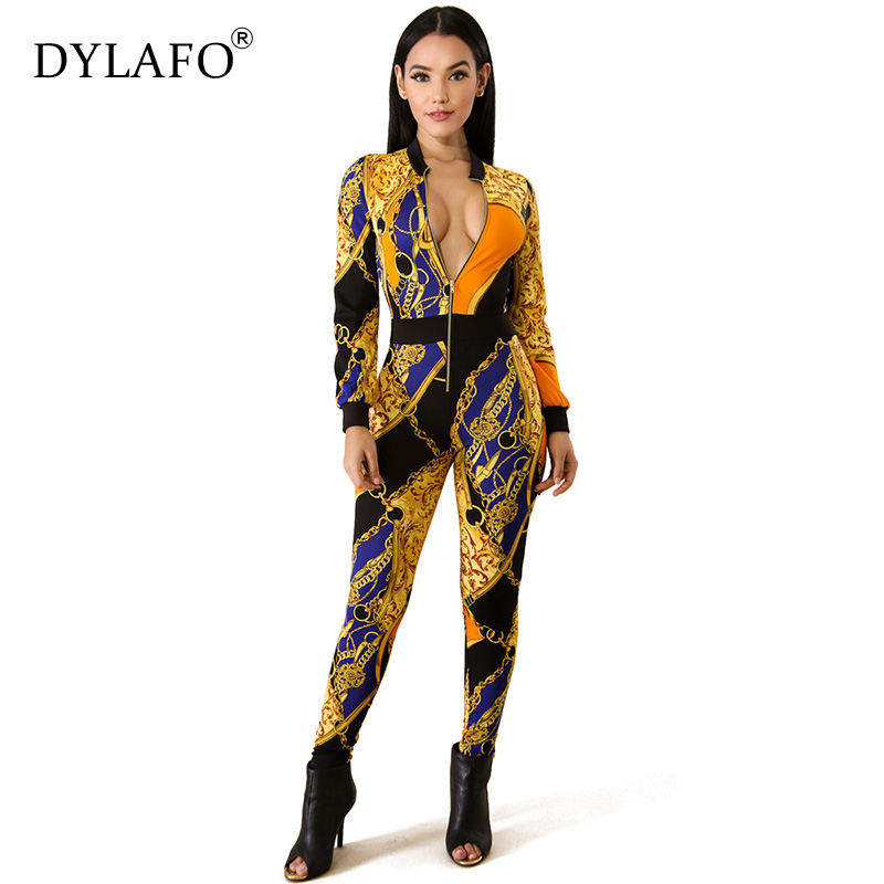 Women Print Long Sleeve Skinny Bodycon Jumpsuit Sexy Club Office Lady Streetwear Fashion Stretch Fall Winter Jumpsuits Overalls
