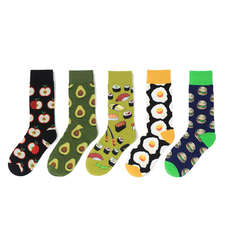 Unisex Fashion High Hosiery Sock Women 3D Fruit Happy Sock Avocado Apple Cherry Crew Men Funny Art Cotton Soft Socks Harajuku