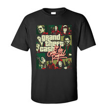 La casa de papel Tops & Tees Grand Theft efectivo hombres camiseta dinero Heist manga corta algodón cuello redondo joven Camiseta clásica