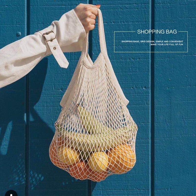 1PCS  Large Cotton Totes Shopping Bags Foldable Mesh Net String Shopping Bag Reusable Shopping Bags Fruit Storage Handbag