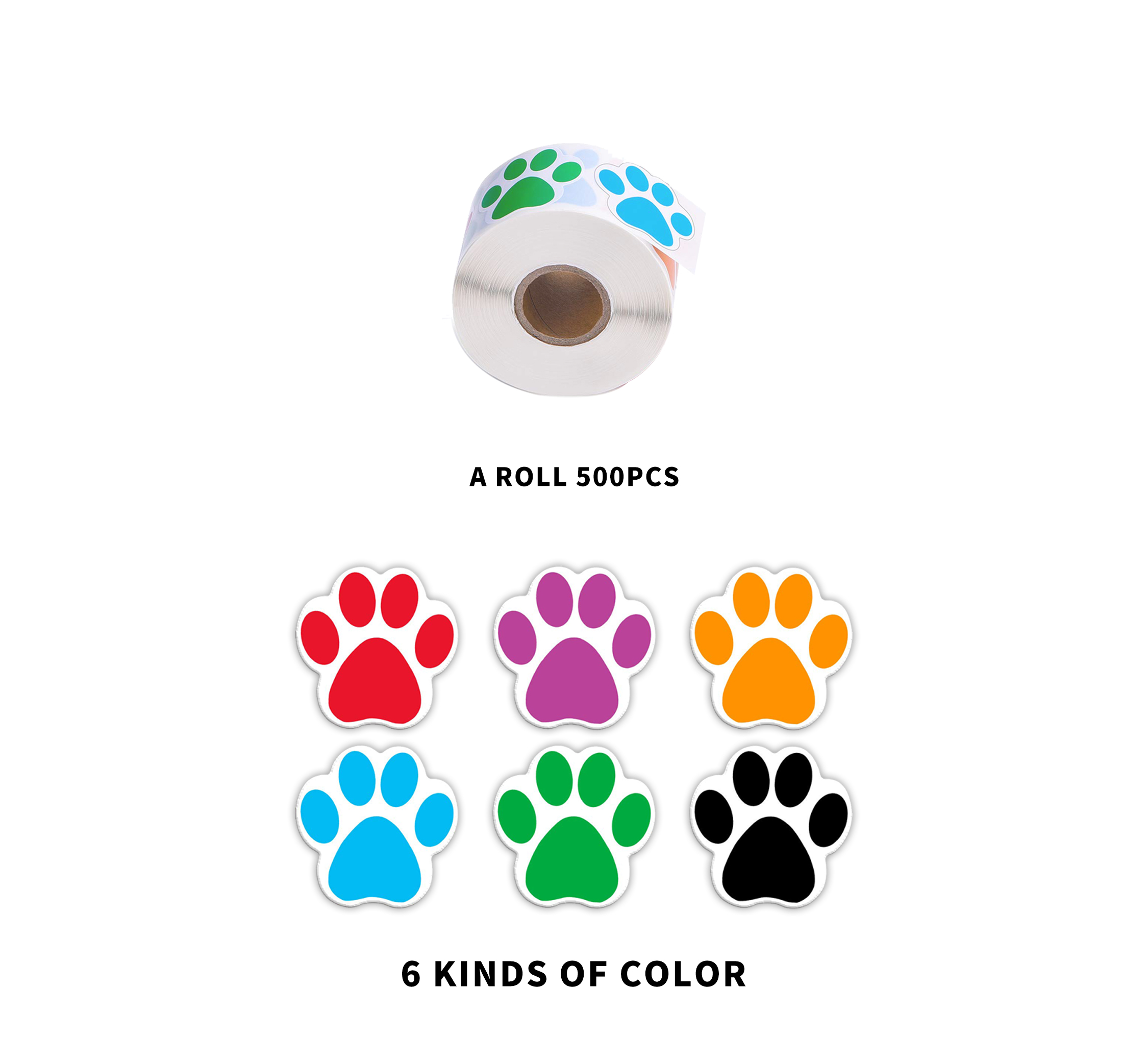 6 Colors BENBO 500 Pieces 1 Inch Colorful Dog Paw Labels Stickers Waterproof Bear Paw Printed Stickers for Kids Paw Print Roll Stickers
