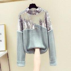 Женский свитер с пайетками, Корейская версия, новый зимний плотный свитер с пайетками ручной работы, мохеровый свитер, Женский Топ