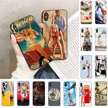 TOPLBPCS WW2 Sexy Pin up chica caja del teléfono para iPhone 11 8 7 6 6S Plus 7 7 8 plus X XS X MAX 5 5S XR 12 11 Pro max se 2020