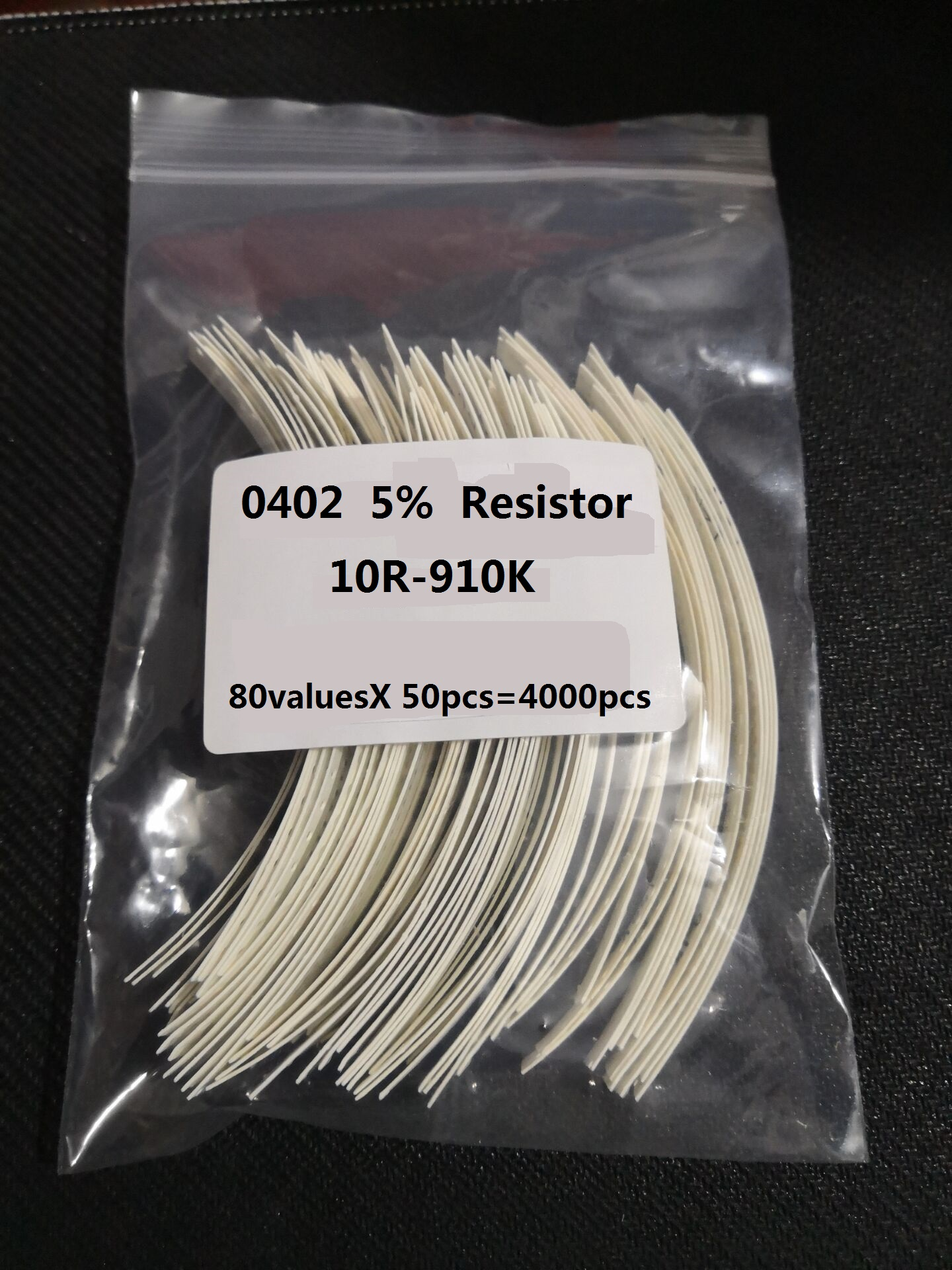 80valuesX 50pcs=4000pcs 0402 <font><b>Resistor</b></font> Kit 10ohm-1M ohm 5% Assorted Sample Kit 1K 2.2k <font><b>10K</b></font> 200K 4.7K 910k 10R 100R 330R 560R Ohm image