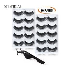 цена 10 pairs/lot Thick Long Lashes 3D Mink Eyelashes Handmade Mink Lashes cruelty-free Dramatic False Eyelashes Makeup онлайн в 2017 году