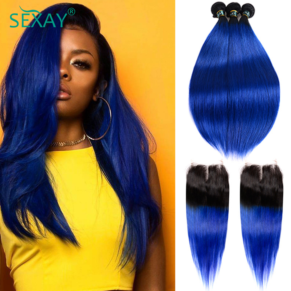 Sexay Ombre Bundles With Closure 1B/ Dark Blue Two Tone Brazilian Straight Human Hair 3 Bundles With Closure Non-remy Hair Weave