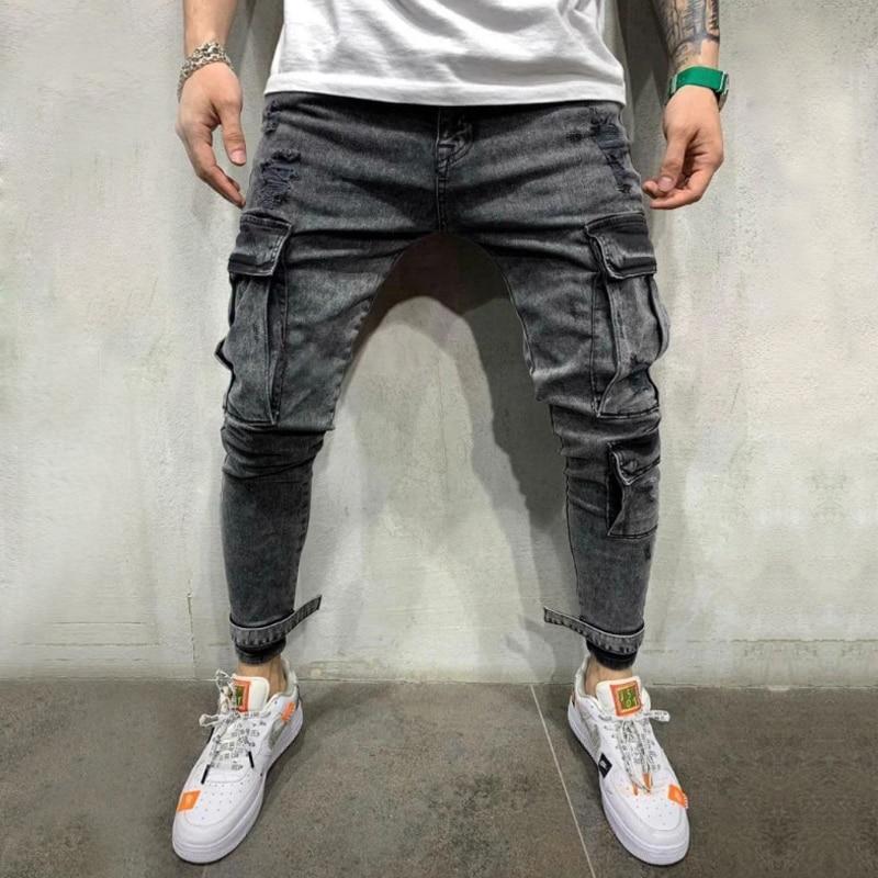 Cargo Pants Men's Vintage Multi-pockets Black Jeans 2019 Fashion Men Slim Pencil Trouser Streetwear Male Casual Skinny Jeans D25