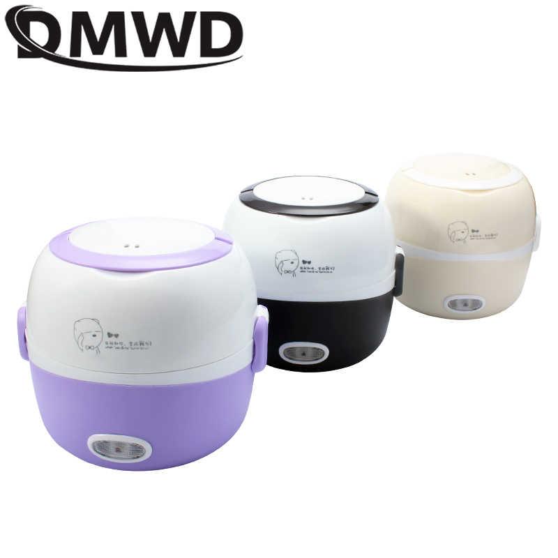 DMWD MINI kuchenka do ryżu izolacja ogrzewanie elektryczny lunchbox 2 warstwy przenośny parowiec wielofunkcyjny automatyczny pojemnik na jedzenie 110V