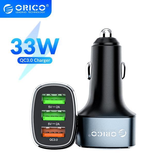 ORICO 33W 3 USB bağlantı noktaları hızlı şarj QC 3.0 araç şarj cihazı iPhone XR XS MAX 8 Samsung S10 şarj cihazı cep telefonu hızlı araç şarj cihazı