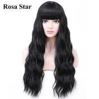 Pelucas sintéticas de ondas del cuerpo de estrella Rosa con flequillo para mujeres disfraz de Cosplay resistente al calor pelucas de colores 7