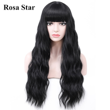 Rosa Star Long Wave Synthetic Wigs With Bangs For Women Heat