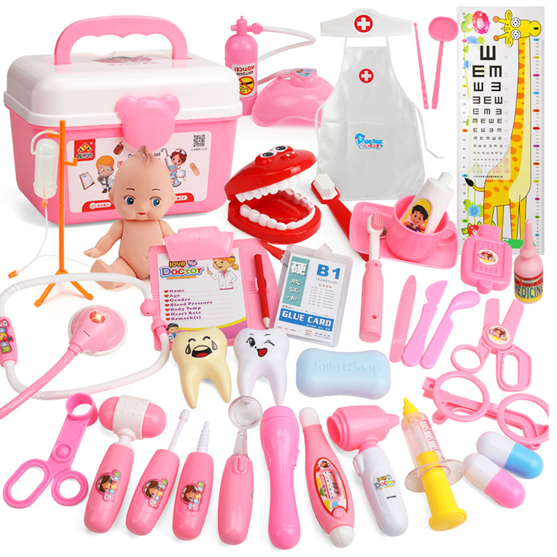 21-39PCS Kids Pretend Play Toys Doctor Set Simulation Medical Kit With Portable Suitcase Girls Role Play Toys Dentist Tool