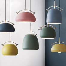 Modern LED Iron Art Color Macaron Pendant Lights Lighting Nordic Creative Living Room Bedroom Bedside Aisle Decor Light Fixtures