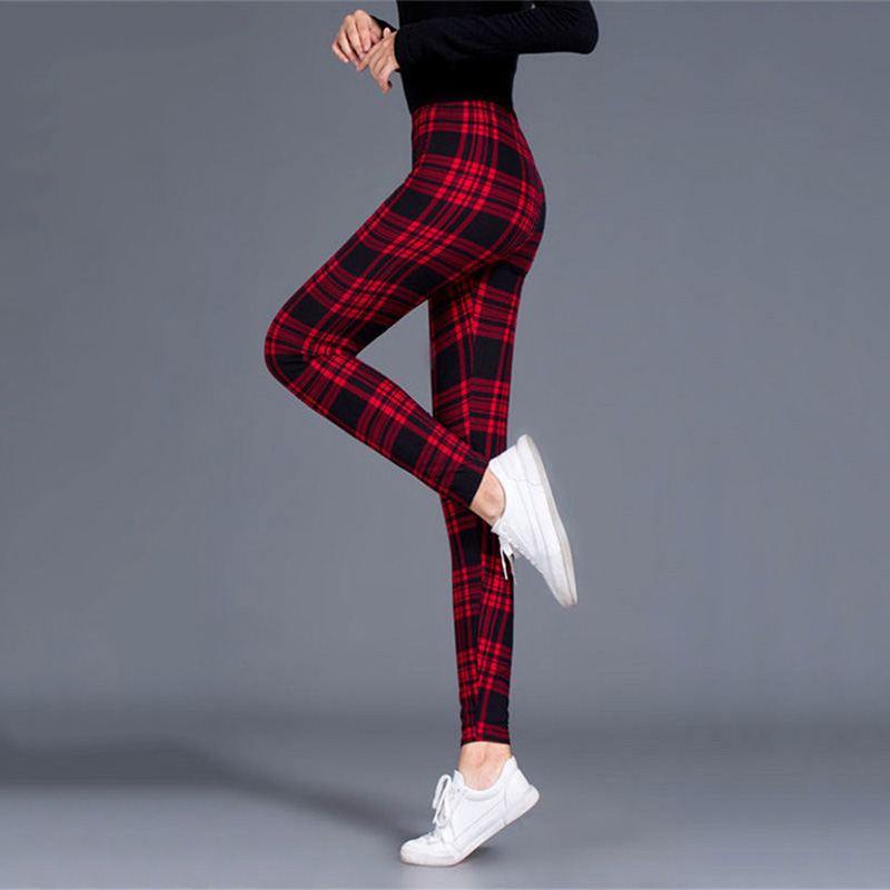 Workout Jogging For Women Leggings Push Up Trousers Grid Printed Fashion High Waist Pants Athleisure Plus Size Sexy Leggings