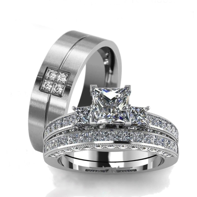 Carofeez Silver-Color Couple Rings Wedding Bands Stainless Steel Black Men's Ring Zircon Women's Ring Sets Anniversary Gift